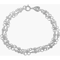 Sterling Silver Flower with Beads Bracelet