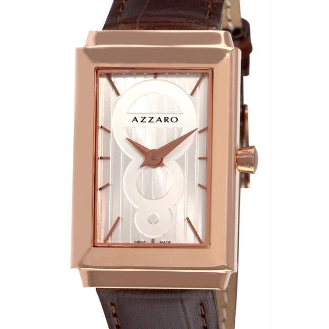 Azzaro Men's 'Legend Rectangular' Rose Gold PVD Leather Strap Watch