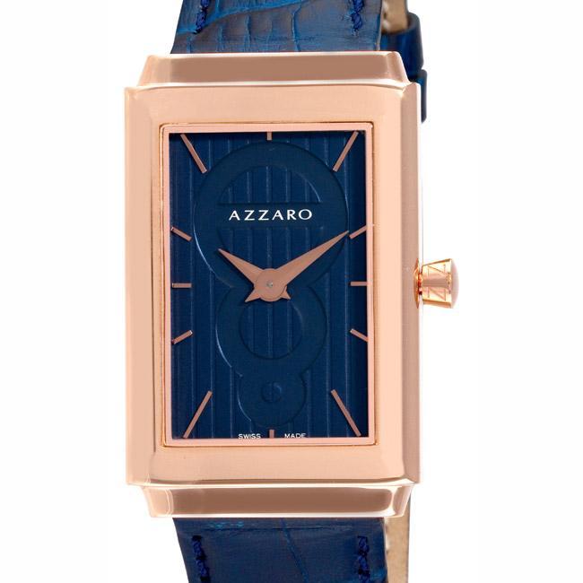 Azzaro Men's 'Legend Rectangular' Rose Gold PVD Blue Strap Watch