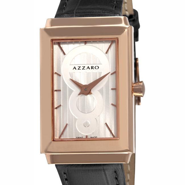 Azzaro Men's 'Legend Rectangular' Rose Gold PVD Silver Face Watch