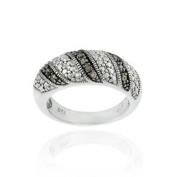 Sterling Silver 1/8ct TDW Brown Diamond Ring (I2-I3)