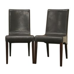 Samantha Dark Brown Leather Dining Chairs (Set of 2).