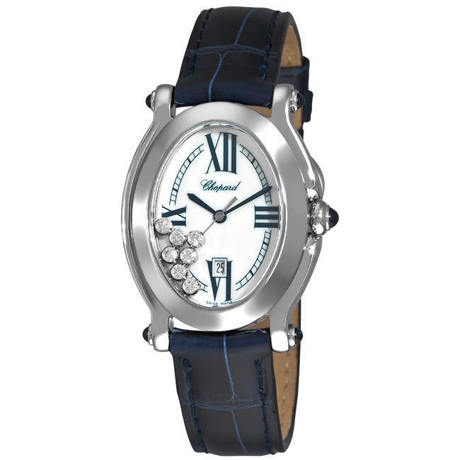 Chopard Women's 'Happy Sport Oval' Blue Leather Strap Diamond Watch