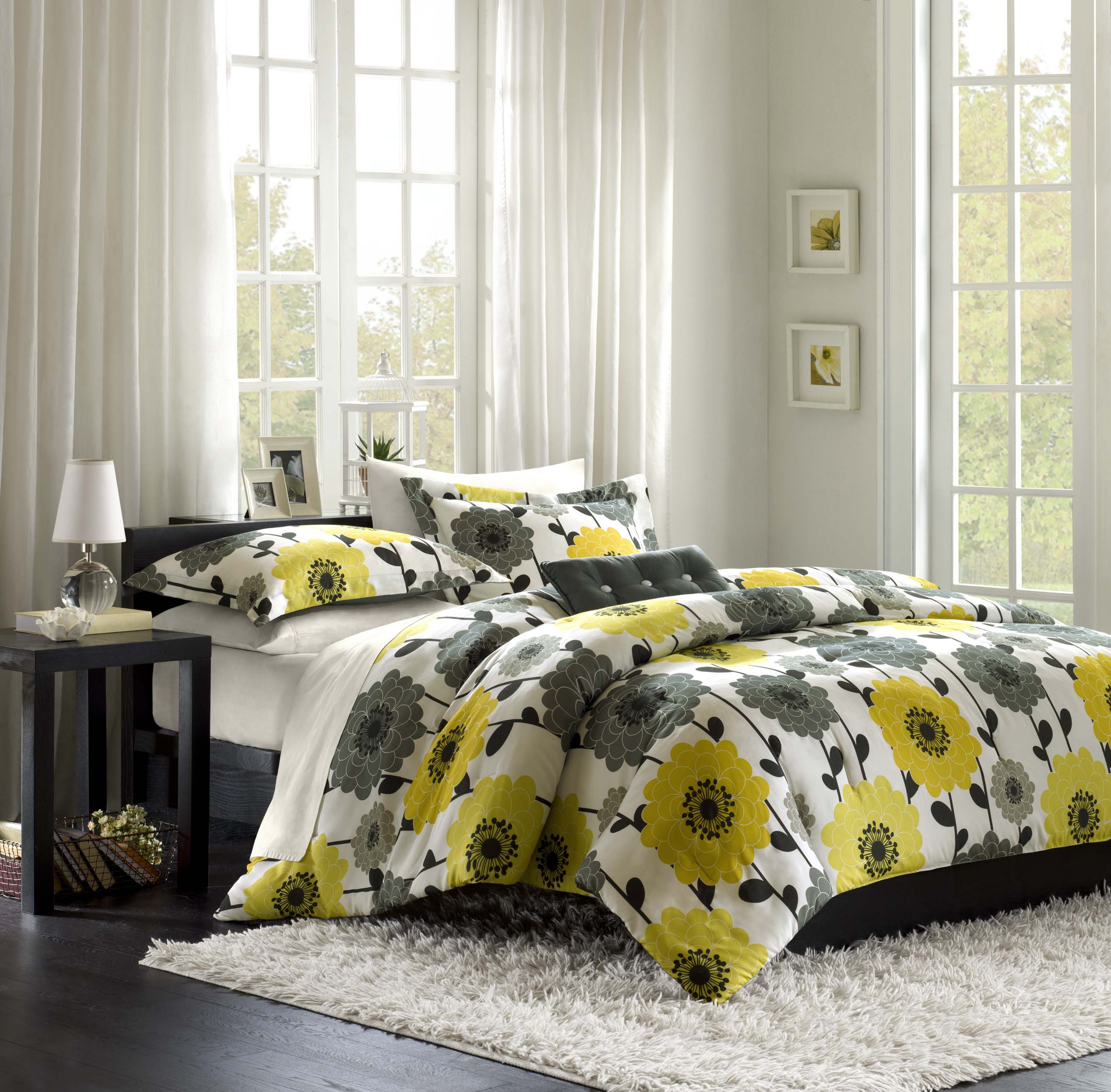 grey yellow bedroom
