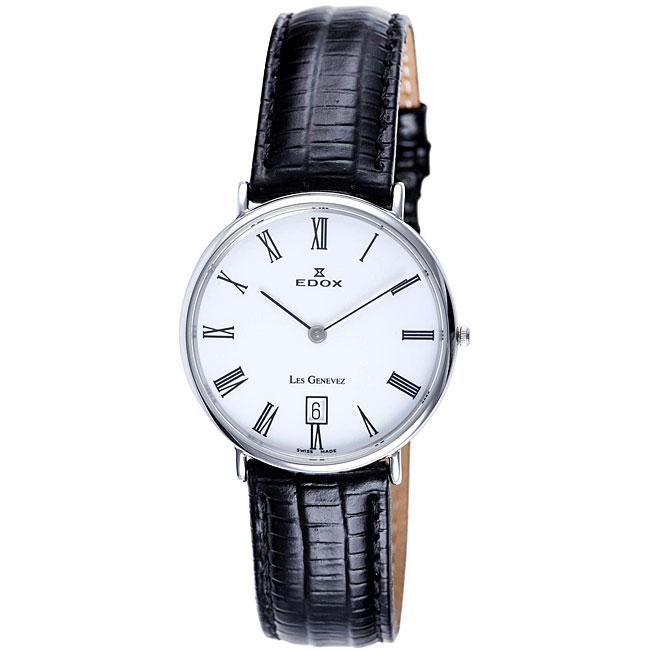 Edox Swiss Men's Les Genevez Ultra Slim White Dial Watch