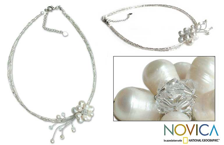 NEED ACCESSORY HELP! :  wedding necklace cherry blossom pearl jewelry help pink L13061288