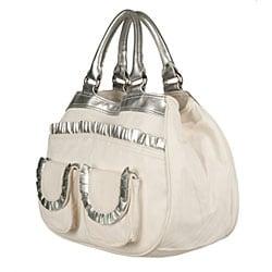 Made in Italy Desmo White/ Silver Nappa Handbag | Overstock.com