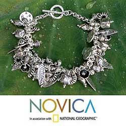 950 Silver 'Siamese Charms' Bracelet (Thailand) | Overstock.com