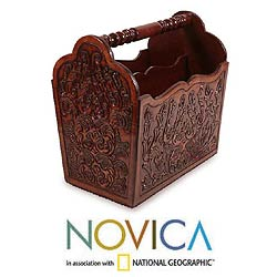 Leather 'Chocolate Tree' Magazine Rack (Peru)