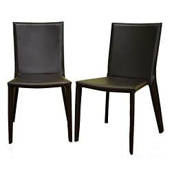 Chocolate Brown Bonded Leather Dining Chairs (Set of 2).