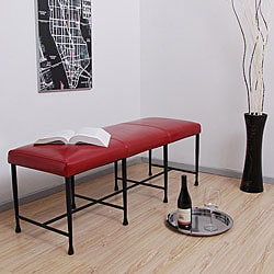 Antique Steel/ Burnt Red Leather Bench.