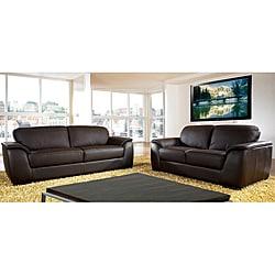 Monaco Dark Brown Premium Italian Leather Sofa and Loveseat