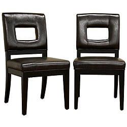Contemporary Leather Chairs Brown (Set of 2).