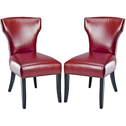 Matty Top-grain Red Leather Side Chairs (Set of 2).