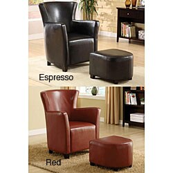 Single-seat Bi-cast Leather Chair and Ottoman Set.