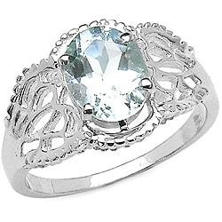 Sterling Silver Oval-cut Aquamarine Ring (1.45 mm)