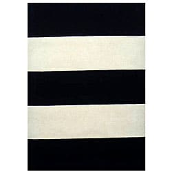 Hand-tufted Black/ White Stripe Wool Rug (5' x 8')