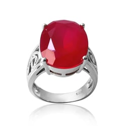 Sterling Silver Cushion-Cut Created Ruby Open Scrollwork Ring (China)