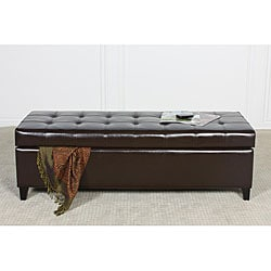 Mission Brown Tufted Bonded Leather Storage Ottoman Bench