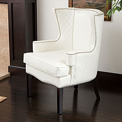 Roma White Quilted Bonded Leather Arm Chair.
