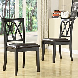 Havana Double-cross Back Black Faux Leather Chairs (Set of 2).