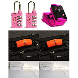 Safe Skies 3-piece Pink Strap TSA Luggage Lock Set