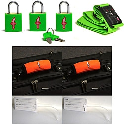 Safe Skies 4-piece Green Strap TSA Luggage Lock Set