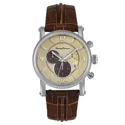 Tommy Bahama Men's Panama-Chrono Brown Leather Strap Watch.
