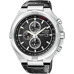 Citizen Men's Eco-Drive Chronograph Black Dial Leather Watch.