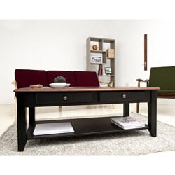 Jane Black/Walnut 2-Drawer Coffee Table