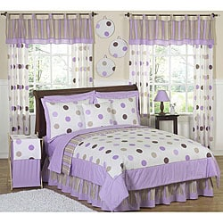 Purple and Brown Polka Dot 4-piece Girl's Twin-size Bedding Set