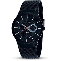 Skagen Men's Black Titanium Multifunction Mesh Watch.