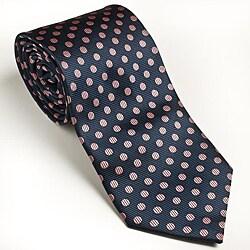 Platinum Ties Men's Navy 'Pink Dot' Tie