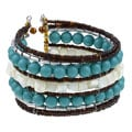 Cara Shell and Bead Memory Wire Cuff Bracelet