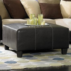 ethan allen, round ottomans, coffee table ottomans, footstools, modern ottomans, leather ottomans, ottomans for sale, fabric ottomans