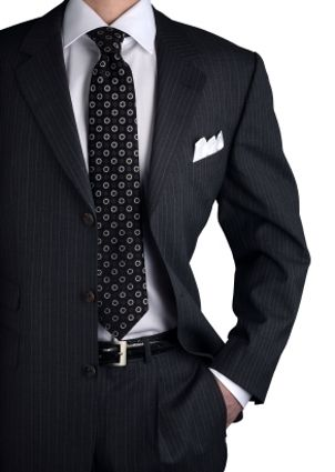 Man wearing necktie and suit